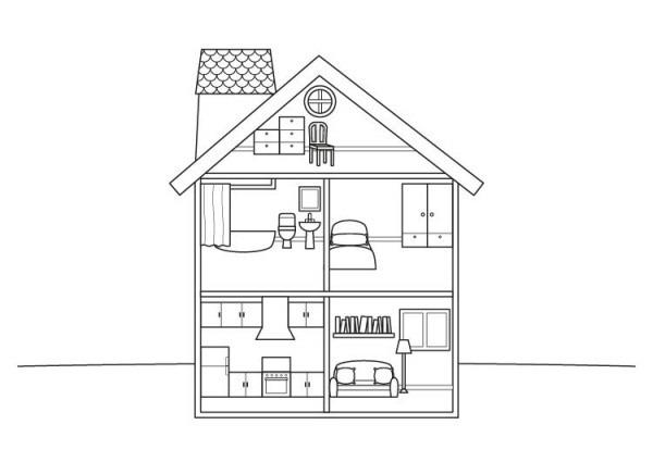 Casa De Muñecas  Dibujo Para Colorear E Imprimir