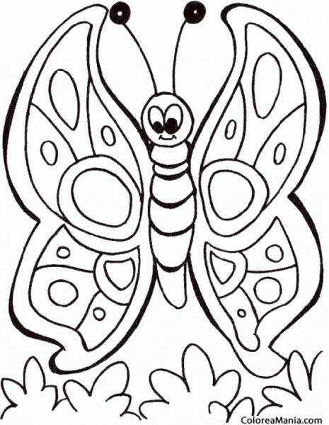 Colorear Mariposa, Dibujo Infantil (insectos), Dibujo Para