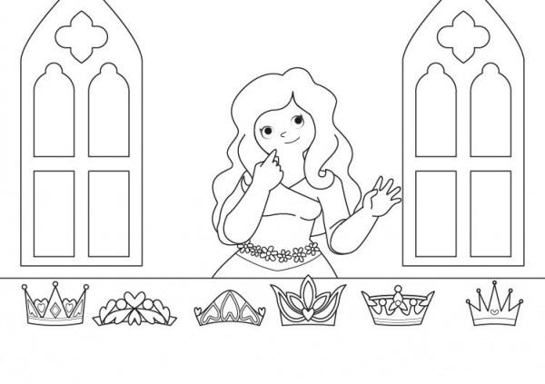 La Corona De La Princesa  Dibujo Para Colorear E Imprimir