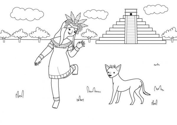 Princesa Azteca  Dibujo Para Colorear E Imprimir