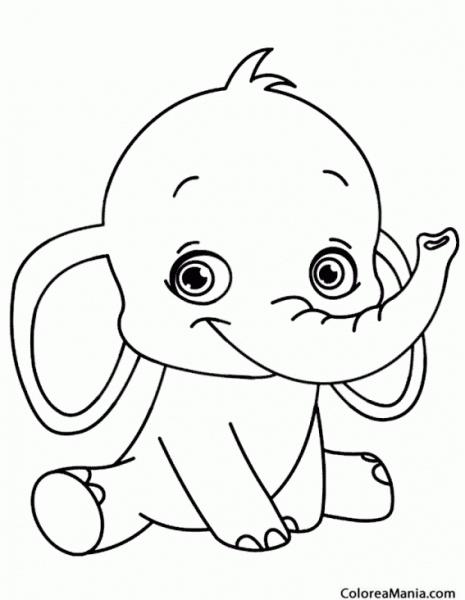 Colorear Elefante Bebé Sonriendo (animales De La Sabana), Dibujo