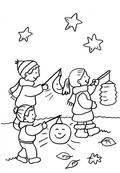 Niños Con Linterna Bajo Las Estrellas  Dibujo Para Colorear E Imprimir