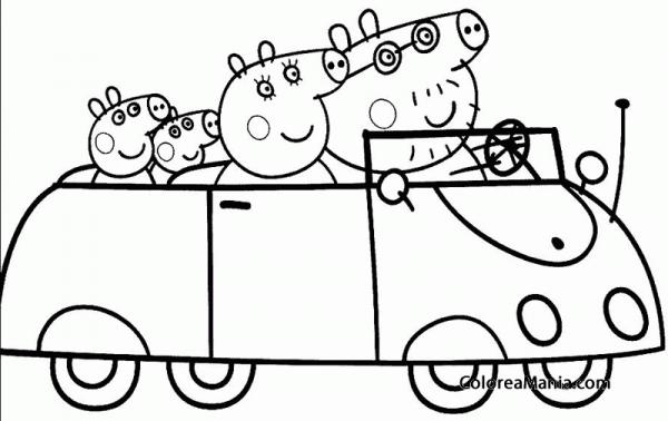 Colorear Familia Peppa Pig En Auto (peppa Pig), Dibujo Para