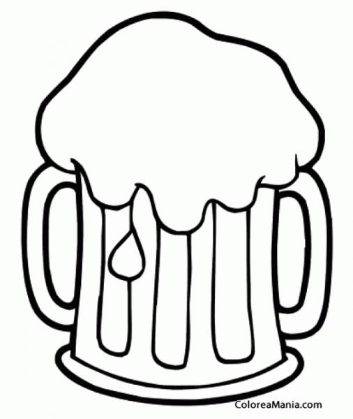 Colorear Jarra De Cerveza Espumosa (bebidas), Dibujo Para Colorear