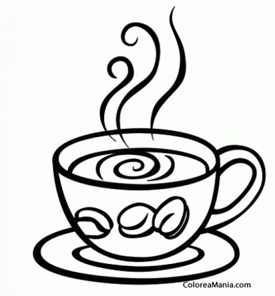 Colorear Taza De Café Expreso (bebidas), Dibujo Para Colorear Gratis