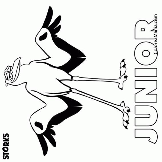 Colorear Junior (cigüeñas), Dibujo Para Colorear Gratis