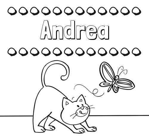 Nombre Andrea  Colorear Un Dibujo Con Nombre, Gato Y Mariposa