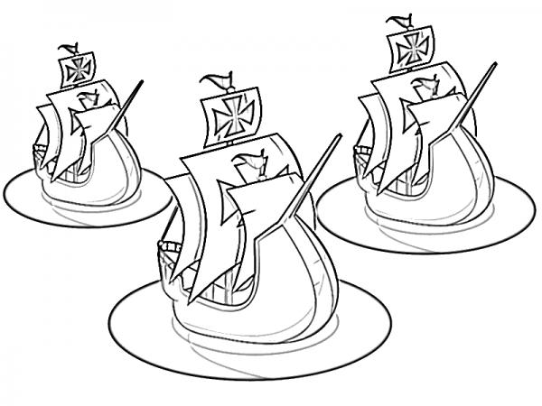 Dibujos De Las 3 Carabelas De Cristóbal Colón Para Pintar
