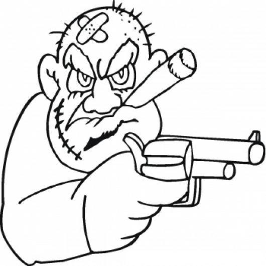 Dibujo De Ladron Asaltante Con Pistola En Mano Para Pintar Y