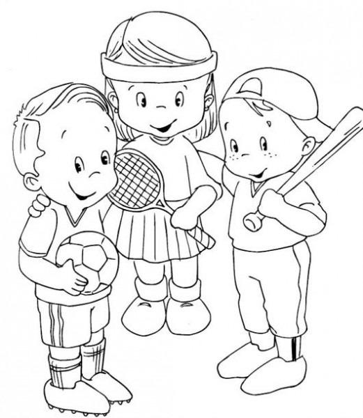 Dibujo De Ninos Deportistas Para Pintar Y Colorear A Un Nene