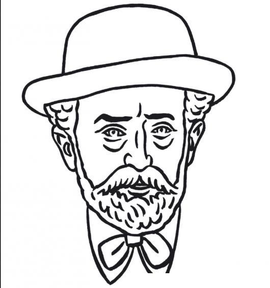 Dibujo De Viejito Elegante Y Barbudo Con Sombrero Para Pintar Y