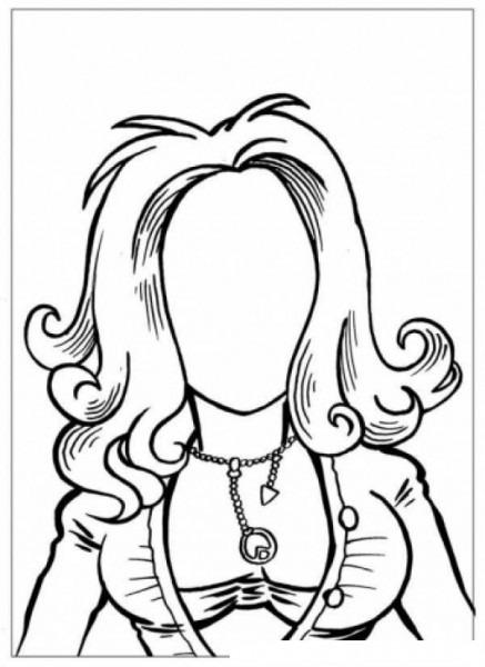 Dibujo De Mujer Sin Cara Para Pintar Y Colorear Mujer Sin Ojos Sin