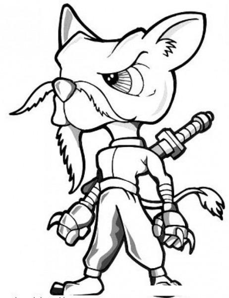 Gato Ninja Dibujo De Chiguagua Ninja Para Pintar Y Colorear Raton