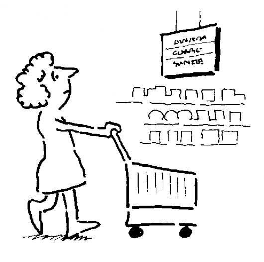Carretilla De Compras Dibujo De Mujer Haciendo Shopping En El