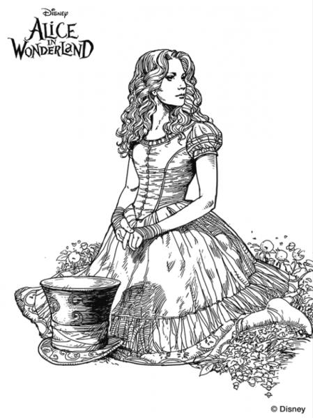 Coloring Page Alice In Wonderland (tim Burton)  Alice