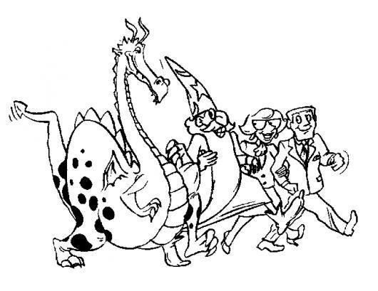 Dibujo Del Mago Merlin Con Un Dragon Y Dos Amigos Para Pintar Y