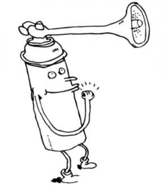 Corneta En Spray Dibujo De Una Corneta Con Aire Comprimido Para