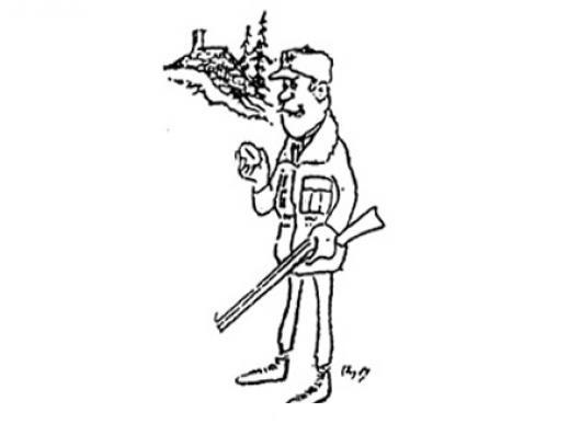Dibujo De Cazador Con Rifle Para Pintar Y Colorear