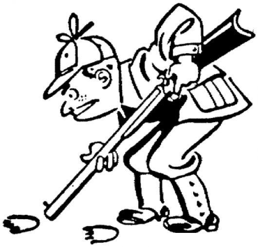 Dibujo De Cazador Con Escopeta Siguiendo Pizadas De Oso Para