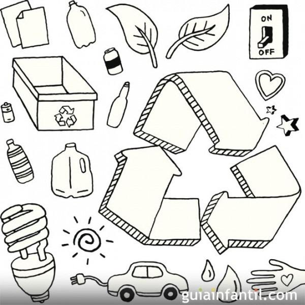 Dibujo Para Colorear Con Los Niños Sobre El Reciclaje