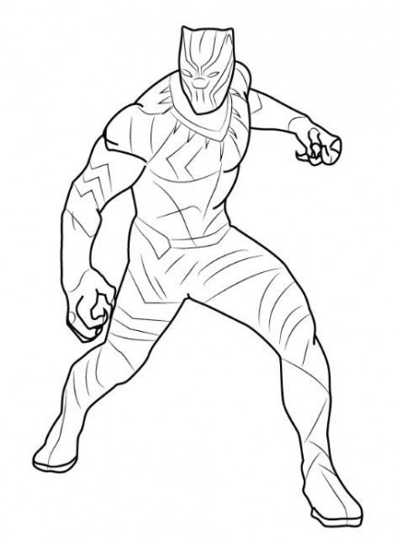 Black Panther Coloring Page Sketch
