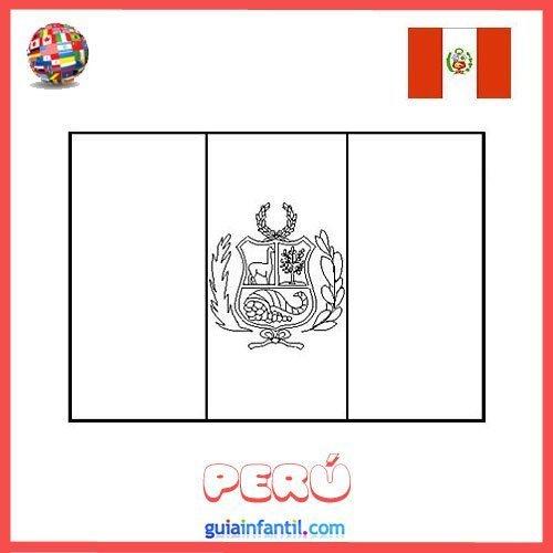 Bandera De Perú Para Imprimir Y Pintar