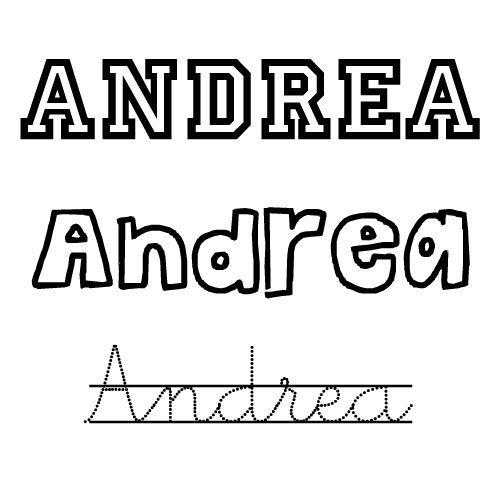 Dibujo Del Nombre Andrea Para Imprimir Y Pintar