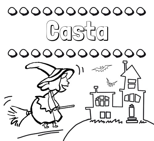 Nombre Casta  Colorear E Imprimir Nombres  Dibujo De Bruja
