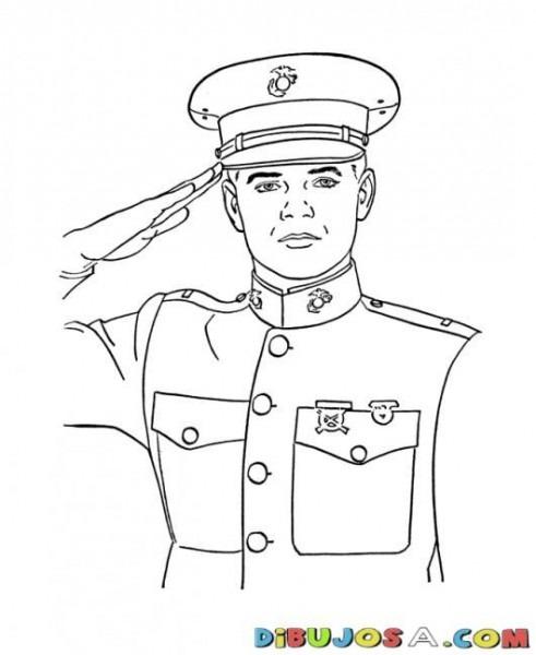 Saludo Militar Dibujo De Joven Cadete Capitan Marina Para Pintar Y