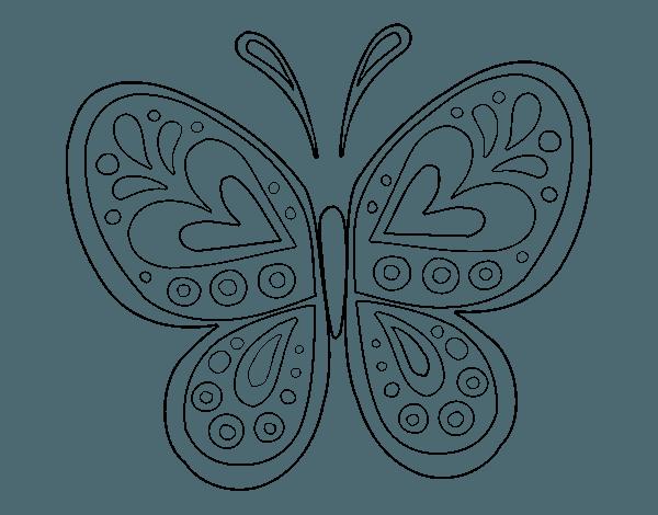 Dibujo De Un Mandala Mariposa Para Pintar, Colorear O Imprimir