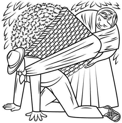 Cargador De Flores, De Diego Rivera Dibujo Para Colorear