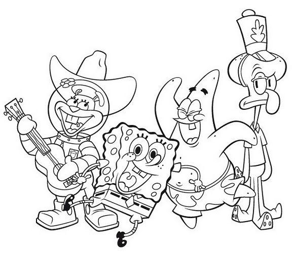 Bob Esponja Y Amigos Para Colorear Pintar A Calamardo El Amigo De