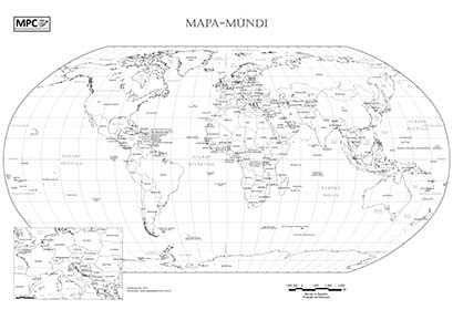 Mapa Mundi Para Imprimir E Colorir, Com Nomes Dos Países