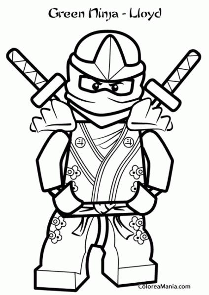 Colorear Lloyd Ninja Verde (ninjago), Dibujo Para Colorear Gratis