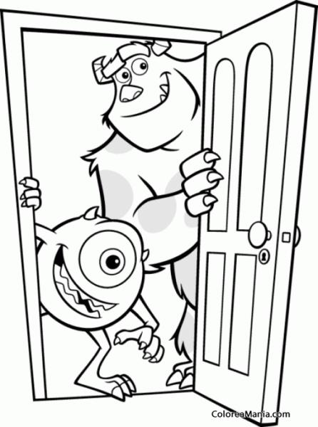 Colorear Mike Y Sulley Abren La Puerta (monstruos S A ), Dibujo