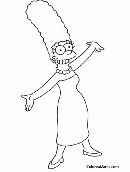 Colorear Marge Simpson 2 (los Simpsons), Dibujo Para Colorear Gratis