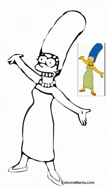 Colorear Marge Simpson 3 (los Simpsons), Dibujo Para Colorear Gratis