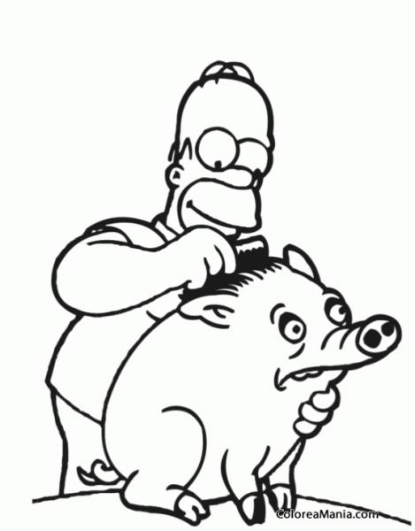 Colorear Homer Cepilla A Un Cerdo (los Simpsons), Dibujo Para
