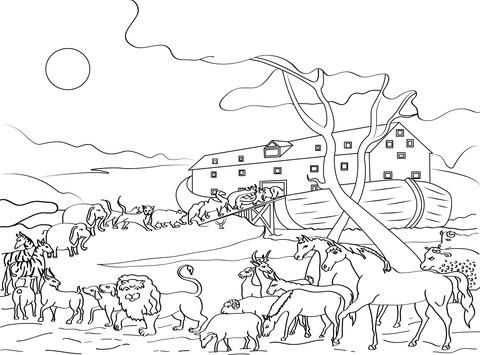 Dibujo De Los Animales Llenan El Arca De Noé Para Colorear