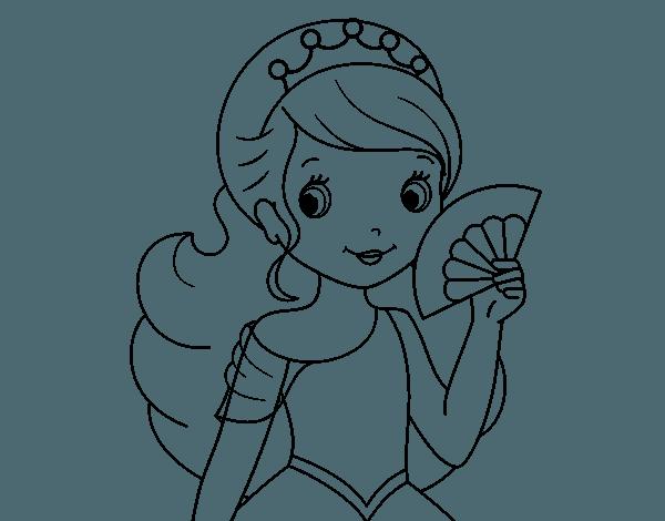 Dibujo De Princesa Y Abanico Ara Colorear