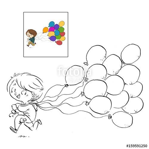 Niño Con Globos Dibujo Para Colorear  Fotos De Archivo E Imágenes
