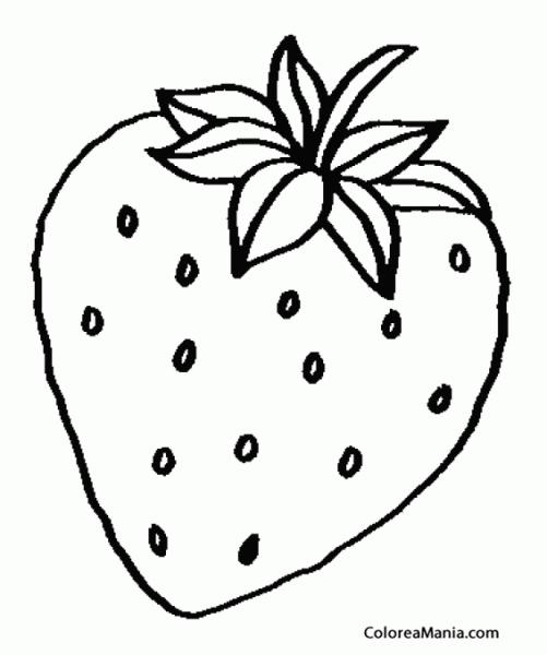 Colorear Fresa (frutas), Dibujo Para Colorear Gratis