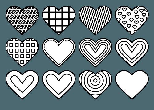 Corazones Con Diferentes Patrones Dibujos Para Colorear