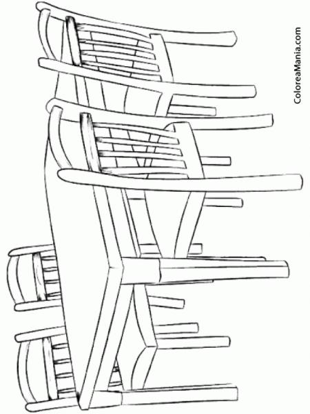 Colorear Mesa De Comedor (el Salón), Dibujo Para Colorear Gratis