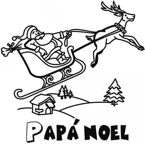 Trineo De Papá Noel  Dibujos Para Colorear Gratis