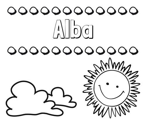 Nombre Alba  Dibujo De Nombres En El Cielo Para Pintar