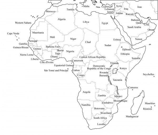 Mapa Africa Para Colorear