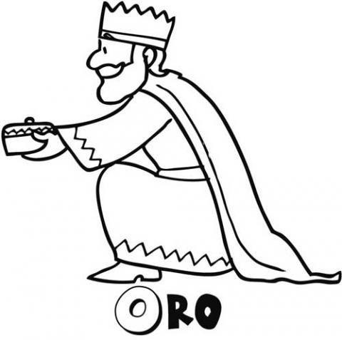 Rey Melchor Regalando Oro  Dibujo Para Niños