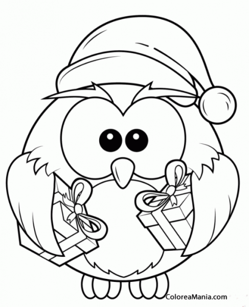 Colorear Búho Con Gorro De Papá Noel (aves), Dibujo Para Colorear
