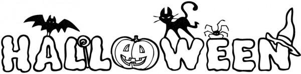 Palabra Halloween  Dibujo Infantil Para Colorear